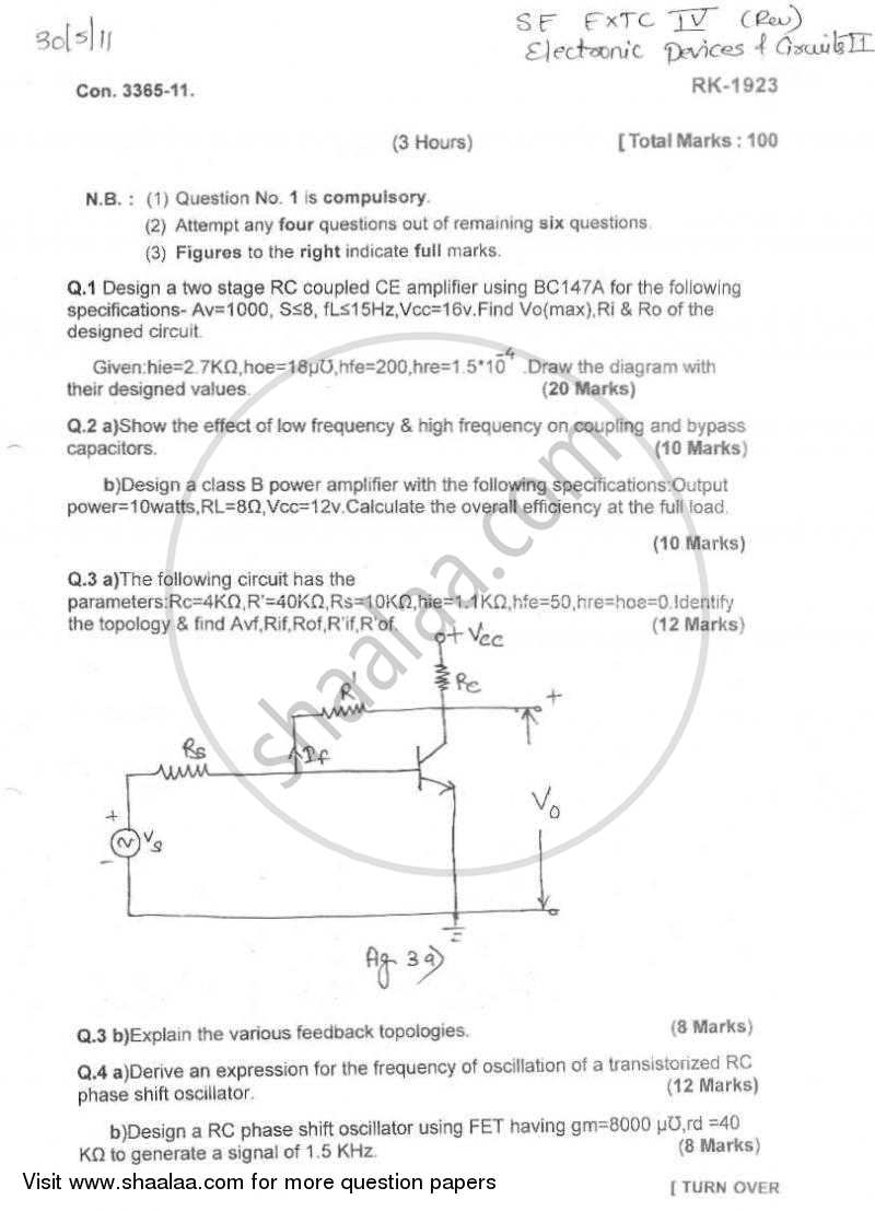 Question Paper - Electronic Devices and Circuits 2 2010 - 2011 - B.E. - Semester 4 (SE Second Year) - University of Mumbai