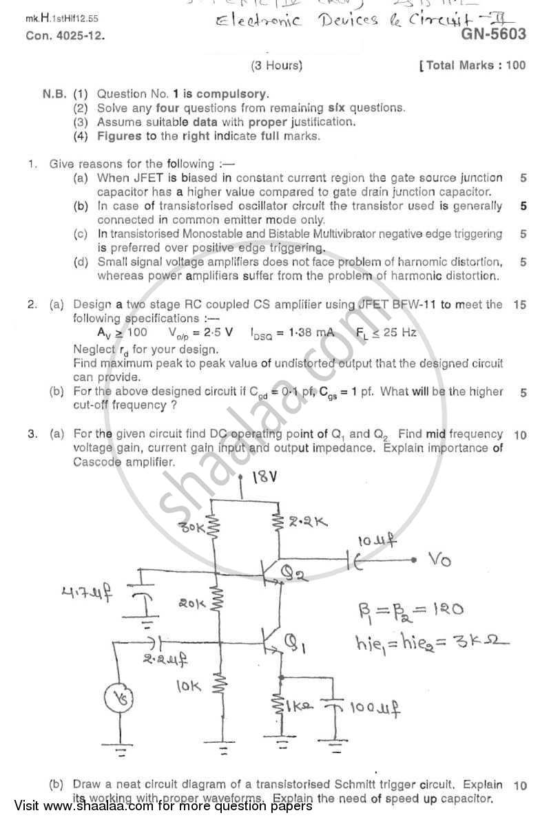 Question Paper - Electronic Devices and Circuits 2 2011 - 2012 - B.E. - Semester 4 (SE Second Year) - University of Mumbai