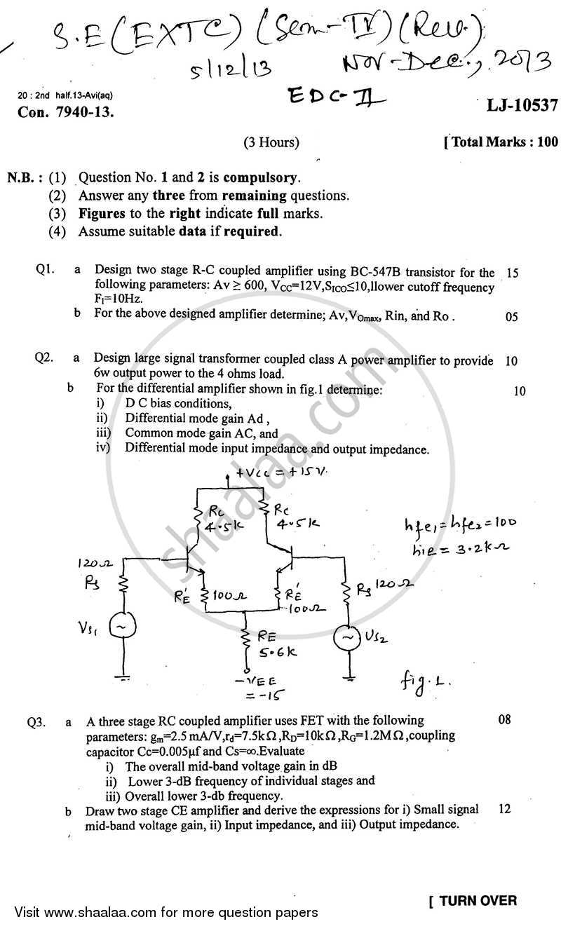 Question Paper - Electronic Devices and Circuits 2 2013 - 2014 - B.E. - Semester 4 (SE Second Year) - University of Mumbai
