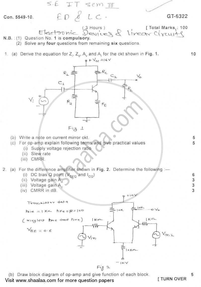 Question Paper - Electronic Devices and Circuits 2010 - 2011 - B.E. - Semester 3 (SE Second Year) - University of Mumbai