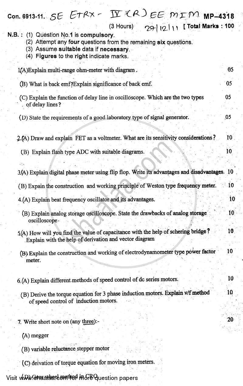 Question Paper - Electronic and Electrical Measuring Instruments and Machine 2011 - 2012 - B.E. - Semester 4 (SE Second Year) - University of Mumbai