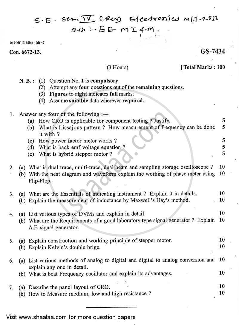 Question Paper - Electronic and Electrical Measuring Instruments and Machine 2012 - 2013 - B.E. - Semester 4 (SE Second Year) - University of Mumbai