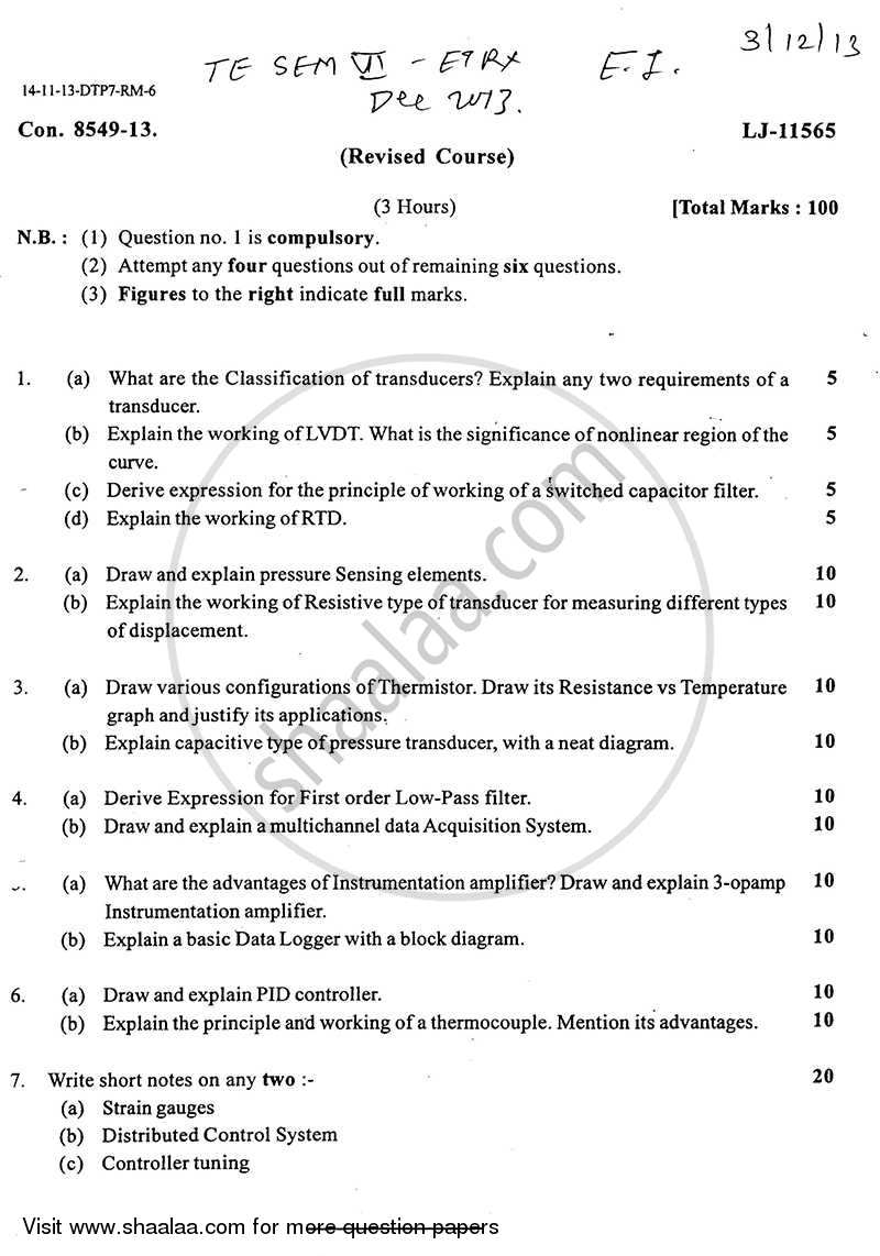 Question Paper - Electronic Instrumentation 2013-2014 - B.E. - Semester 6 (TE Third Year) - University of Mumbai with PDF download