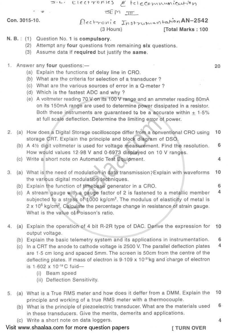 Electronic Instrumentation 2009-2010 - B.E. - Semester 3 (SE Second Year) - University of Mumbai question paper with PDF download