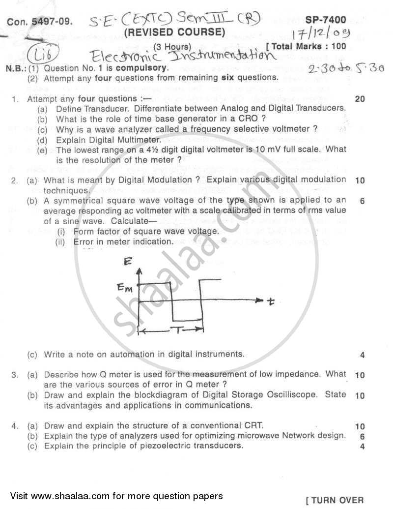 Question Paper Electronic Instrumentation 2009 2010 Be Electronics And Communication Engineering Block Diagram Of Semester 3 Se Second