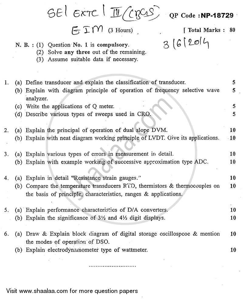 Question Paper - Electronic Instruments and Measurements 2013 - 2014 - B.E. - Semester 3 (SE Second Year) - University of Mumbai