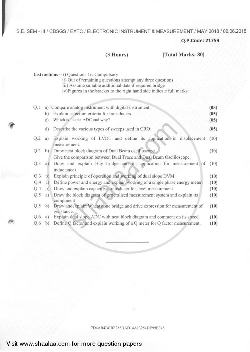Question Paper - Electronic Instruments and Measurements 2017-2018 - B.E. - Semester 3 (SE Second Year) - University of Mumbai with PDF download