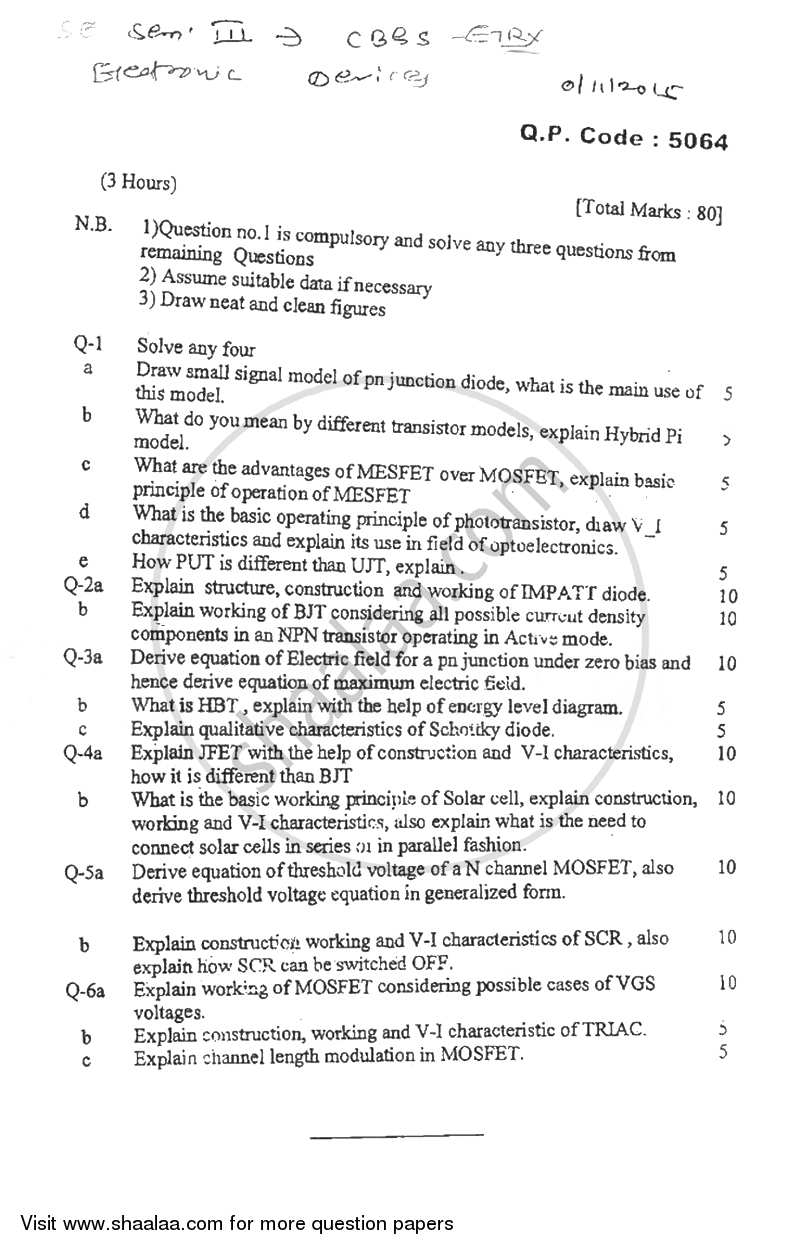 Question Paper - Electronics Devices 2015 - 2016-B.E.-Semester 3 (SE Second Year) University of Mumbai
