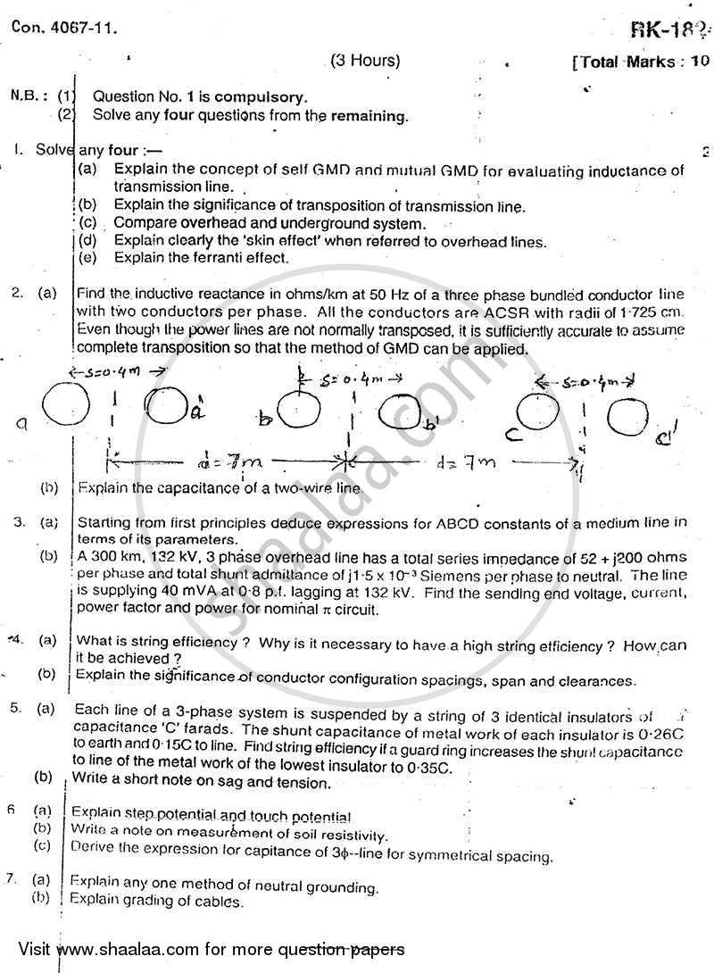 Question Paper - Elements of Power System 2010 - 2011-B.E.-Semester 4 (SE Second Year) University of Mumbai