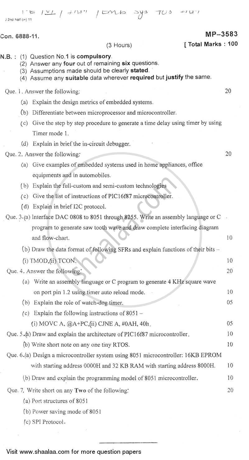 Question Paper - Embedded Systems for Instrumentation 2011 - 2012 - B.E. - Semester 6 (TE Third Year) - University of Mumbai