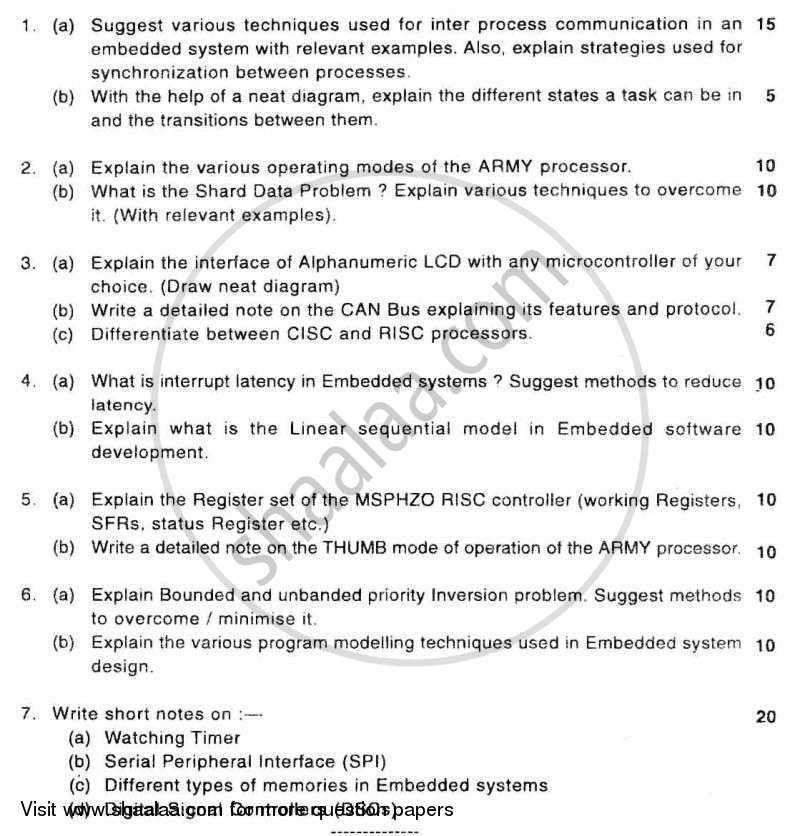 Question Paper - Embedded Systems and Real Time Programming 2010-2011 - B.E. - Semester 8 (BE Fourth Year) - University of Mumbai with PDF download