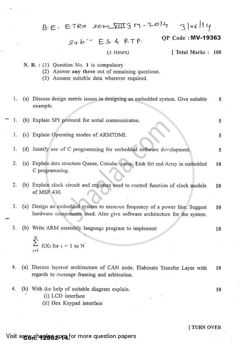 Embedded Systems And Real Time Programming 2013 2014 Be Electronics Engineering Semester 8 Be Fourth Year Old Question Paper With Pdf Download Shaalaa Com