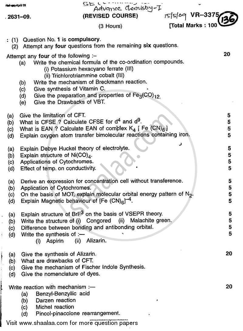 Question Paper - Engineering Chemistry 1 2008 - 2009 - B.E. - Semester 3 (SE Second Year) - University of Mumbai
