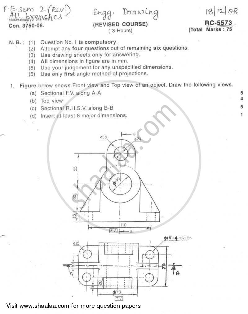 Question Paper - Engineering Drawing 2008 - 2009 - B.E. - Semester 2 (FE First Year) - University of Mumbai