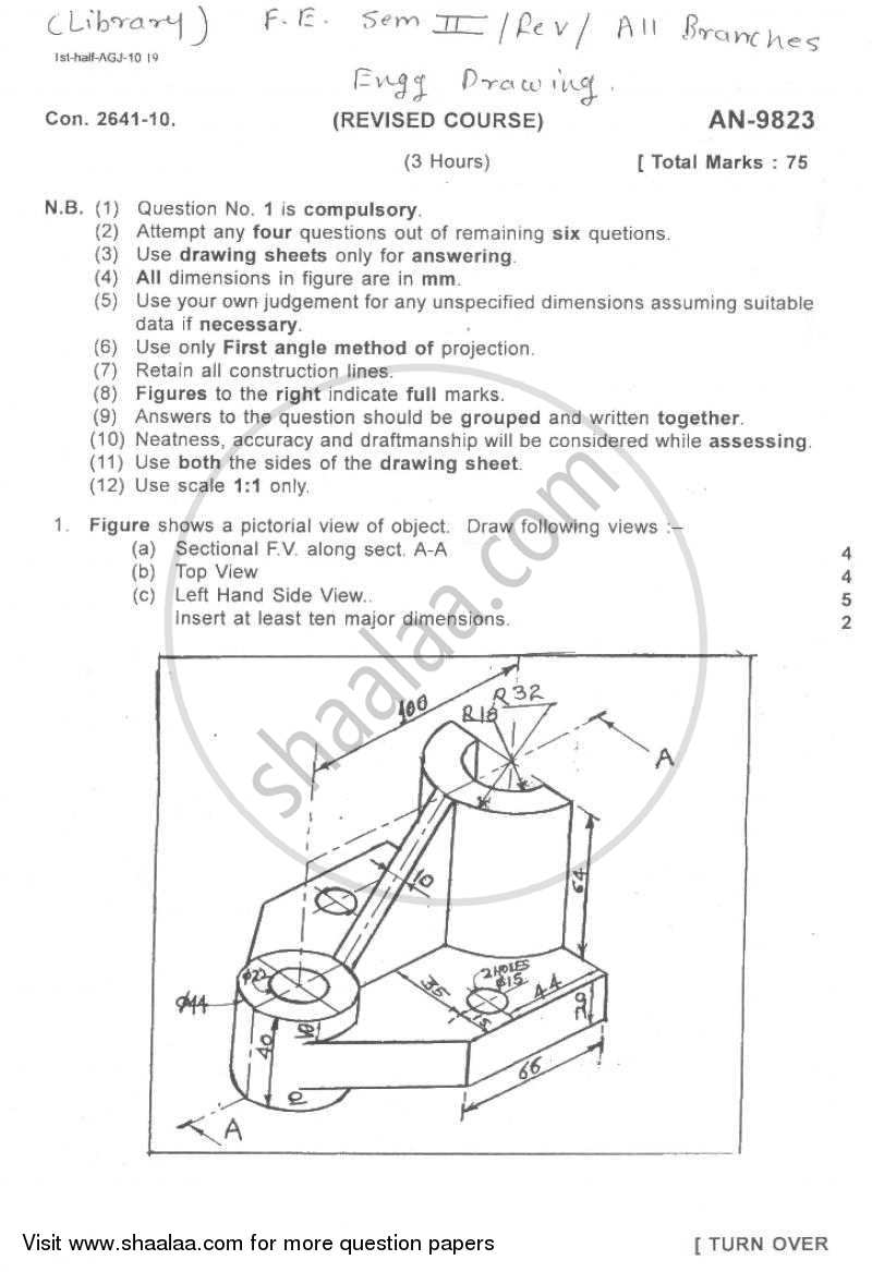 Question Paper - Engineering Drawing 2009 - 2010-B.E.-Semester 2 (FE First Year) University of Mumbai