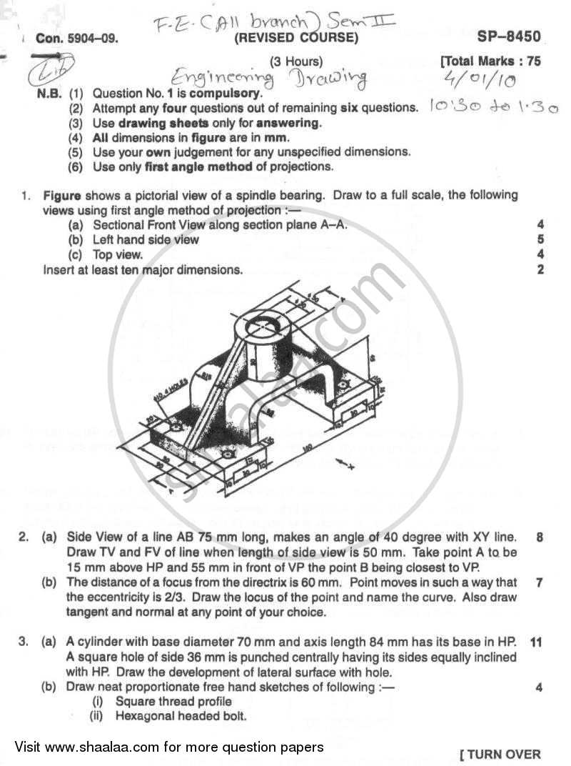 Question Paper - Engineering Drawing 2009 - 2010 - B.E. - Semester 2 (FE First Year) - University of Mumbai