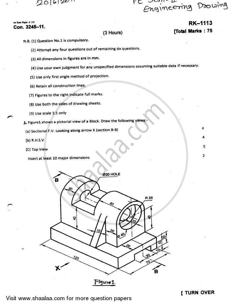 Question Paper - Engineering Drawing 2010 - 2011 - B.E. - Semester 2 (FE First Year) - University of Mumbai