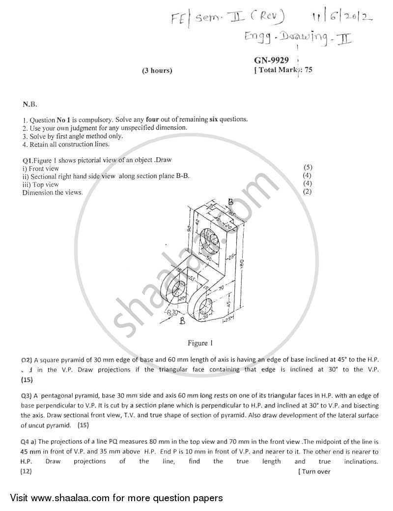 Question Paper - Engineering Drawing 2011 - 2012 - B.E. - Semester 2 (FE First Year) - University of Mumbai