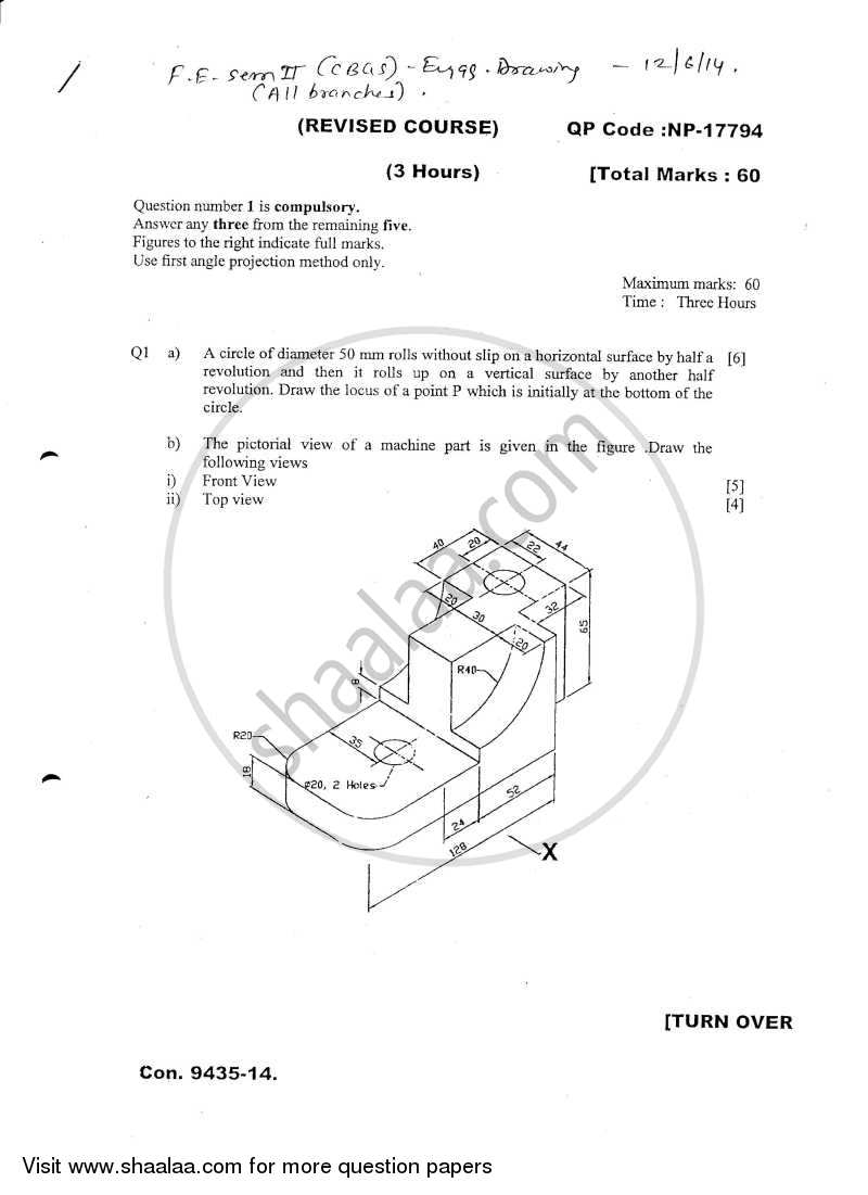 Question Paper - Engineering Drawing 2013 - 2014 - B.E. - Semester 2 (FE First Year) - University of Mumbai