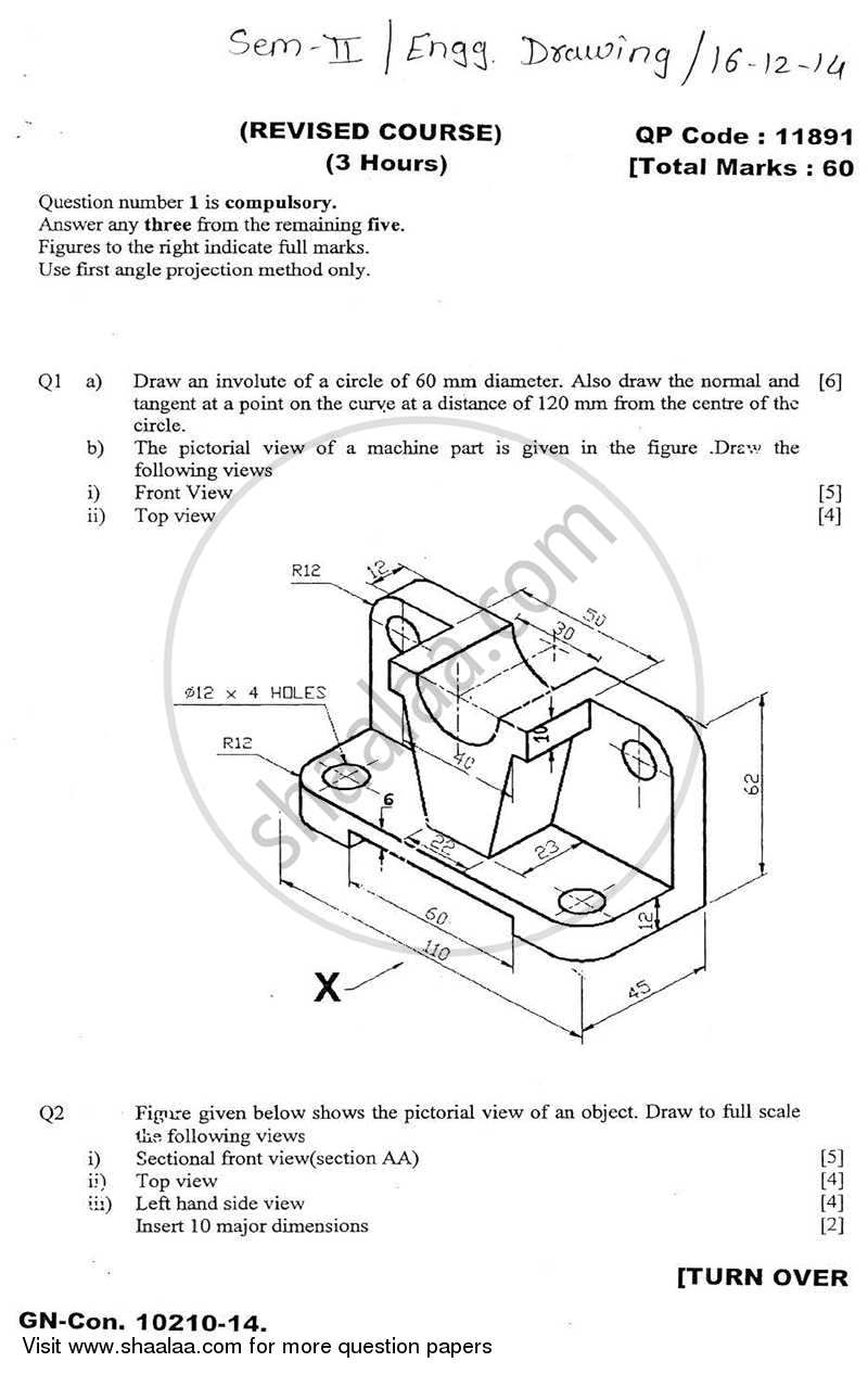 Question Paper - Engineering Drawing 2014 - 2015 - B.E. - Semester 2 (FE First Year) - University of Mumbai
