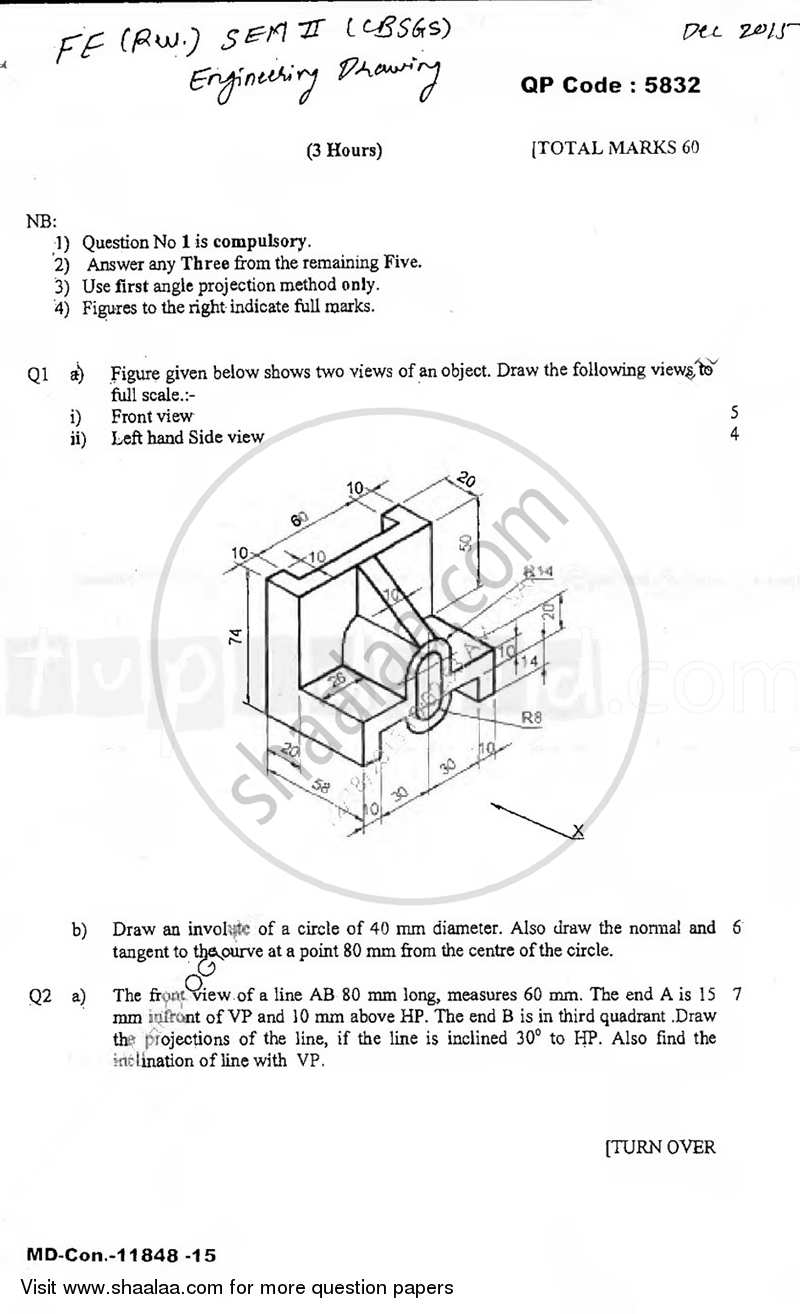 Question Paper Engineering Drawing 2015 2016 Be Instrumentation