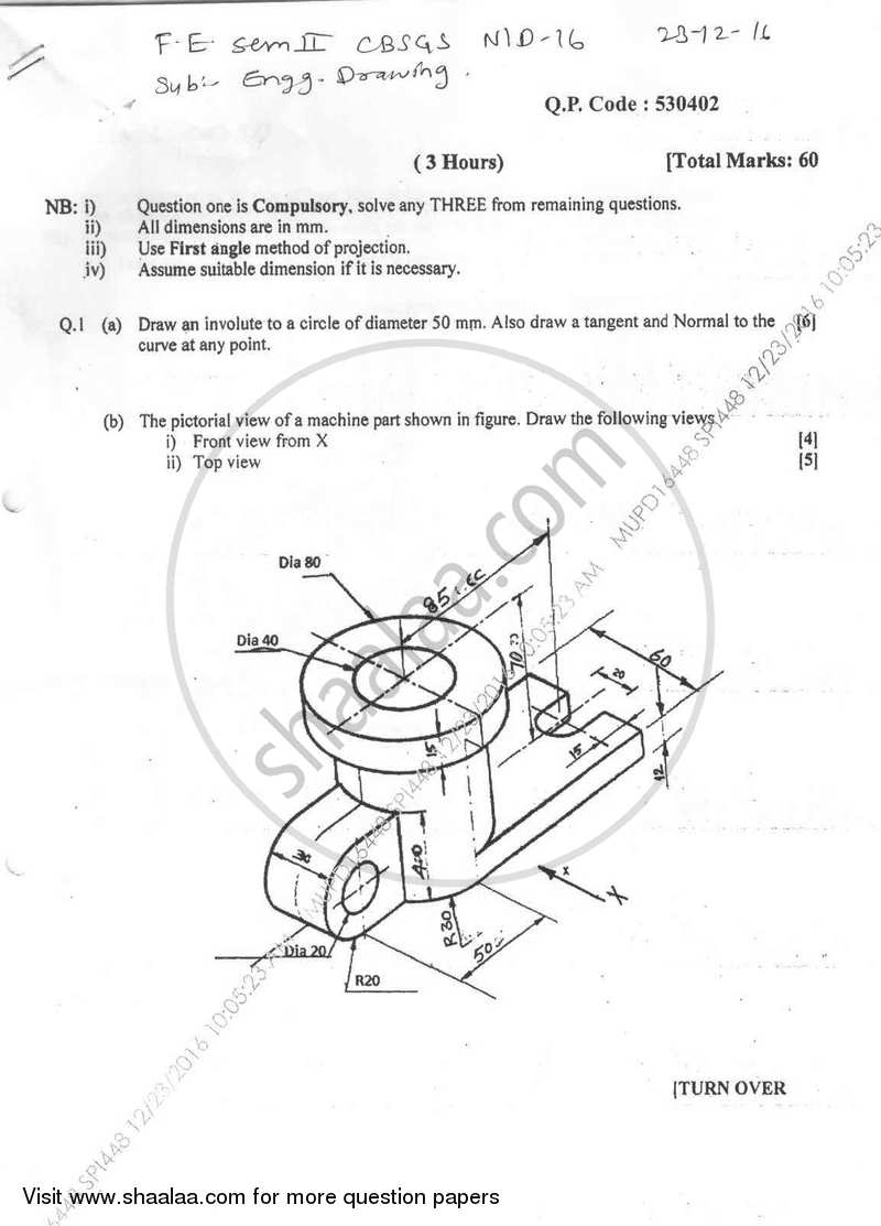 Question Paper Be Computer Engineering Semester 2 Fe First Year
