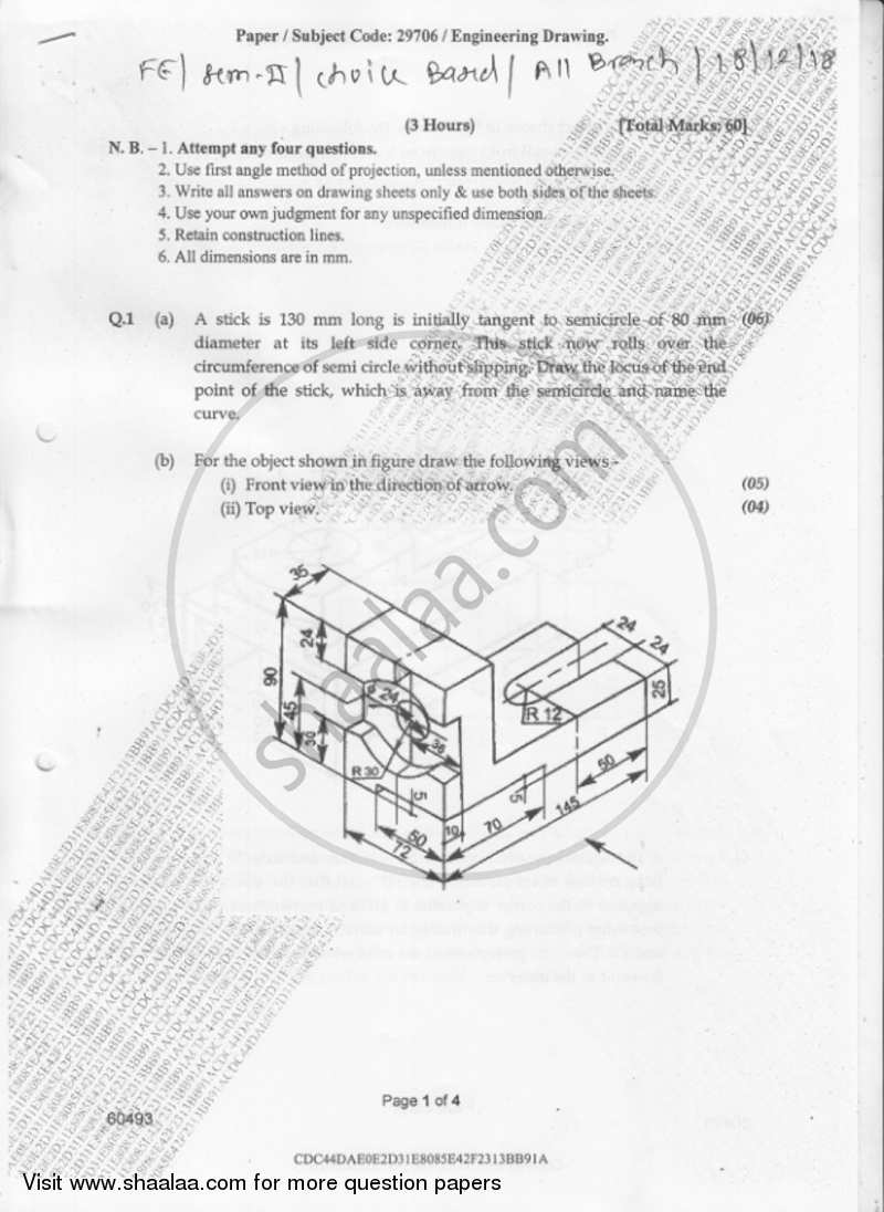 Engineering Drawing 2018-2019 - B.E. - Semester 2 (FE First Year) - University of Mumbai question paper with PDF download