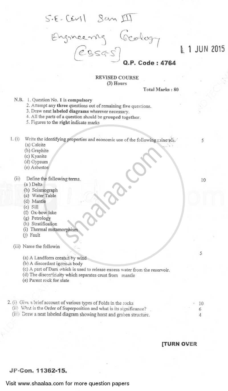 Question Paper - Engineering Geology 2014 - 2015 - B.E. - Semester 3 (SE Second Year) - University of Mumbai
