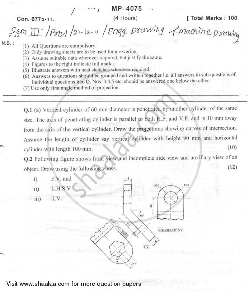 Question Paper - Engineering Graphics and Machine Drawing 2011 - 2012-B.E.-Semester 3 (SE Second Year) University of Mumbai