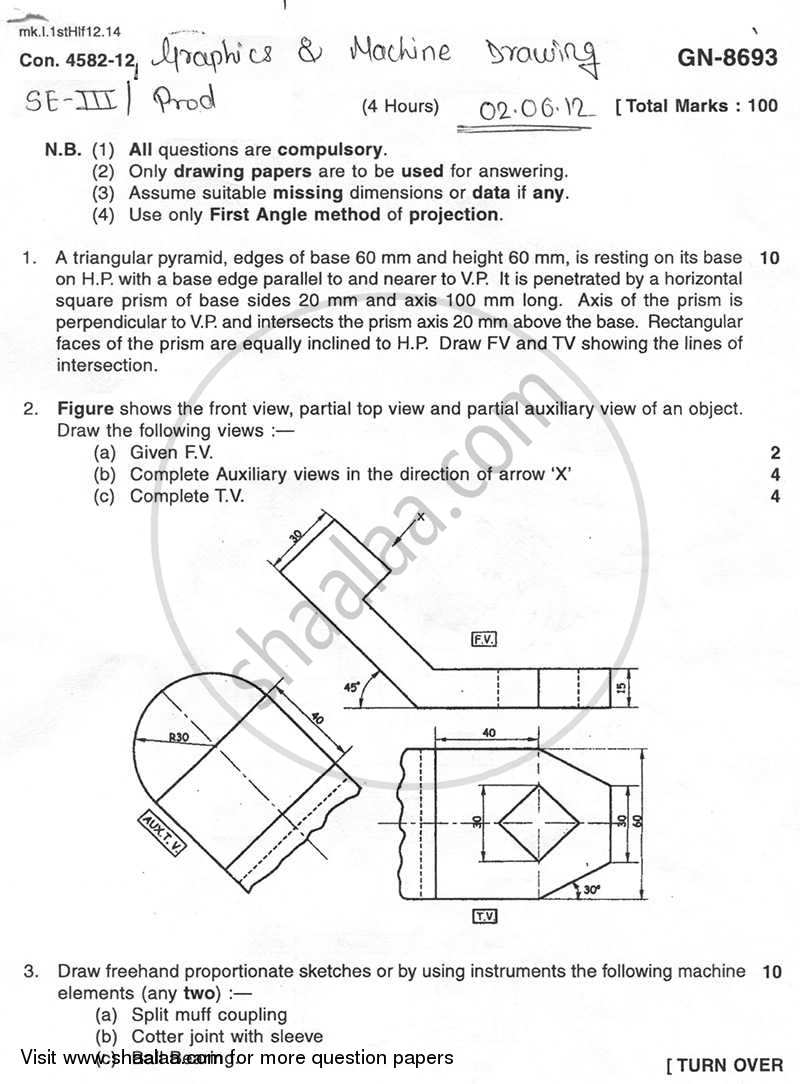 Question Paper - Engineering Graphics and Machine Drawing 2011 - 2012 - B.E. - Semester 3 (SE Second Year) - University of Mumbai