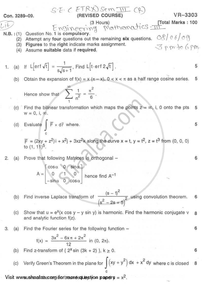 Question Paper - Engineering Mathematics 3 2008 - 2009 - B.E. - Semester 3 (SE Second Year) - University of Mumbai