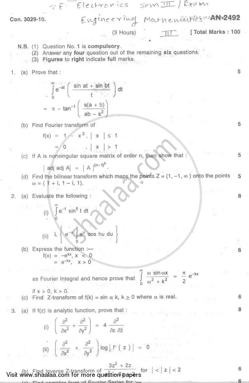 Engineering Mathematics 3 2009-2010 - B.E. - Semester 3 (SE Second Year) - University of Mumbai question paper with PDF download
