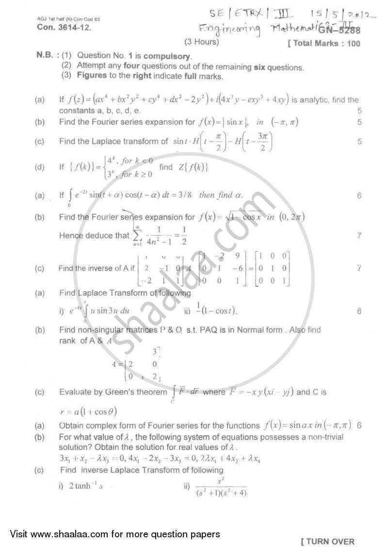 Question Paper - Engineering Mathematics 3 2011 - 2012 - B.E. - Semester 3 (SE Second Year) - University of Mumbai