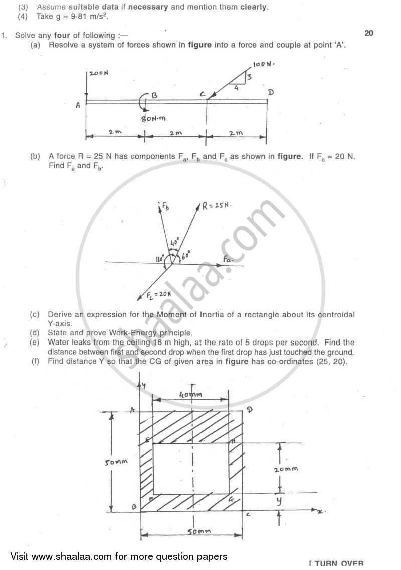 Question Paper - Engineering Mechanics 2007 - 2008-B.E.-Semester 1 (FE First Year) University of Mumbai