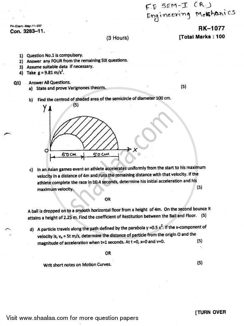 Question Paper - Engineering Mechanics 2010 - 2011 - B.E. - Semester 1 (FE First Year) - University of Mumbai