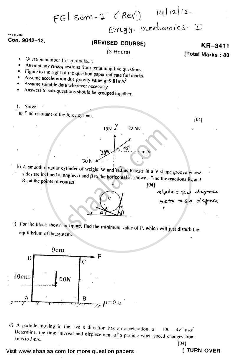 Engineering Mechanics 2012-2013 - B.E. - Semester 1 (FE First Year) - University of Mumbai question paper with PDF download
