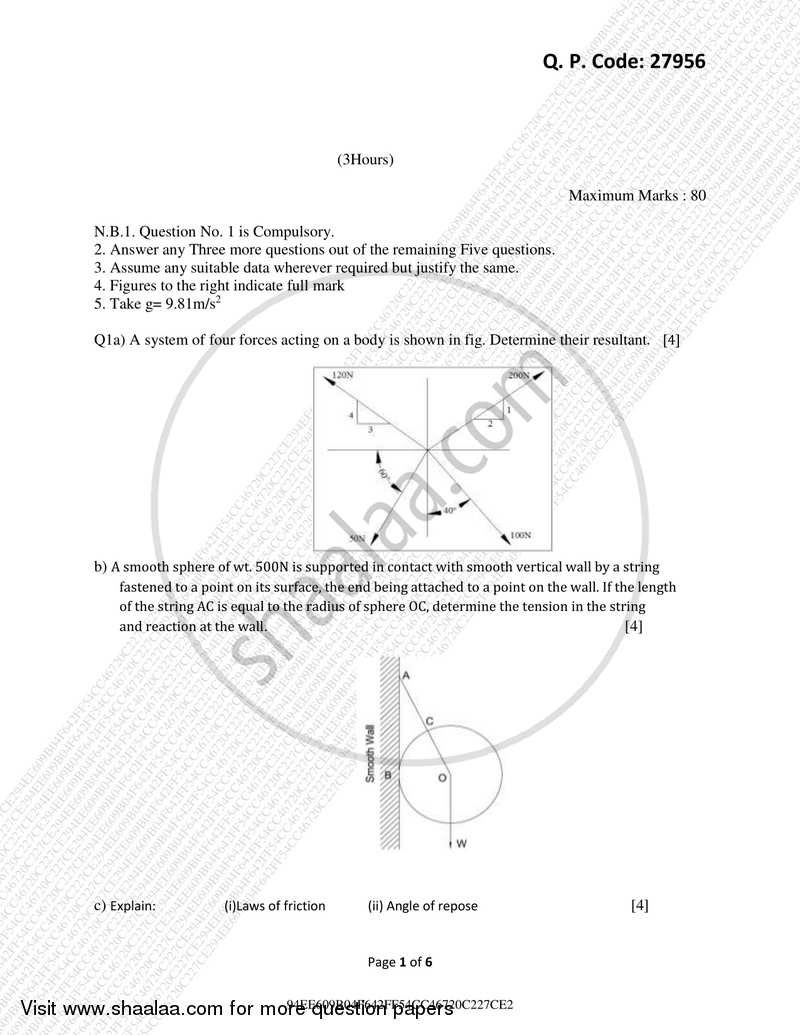 Question Paper - Engineering Mechanics 2017-2018 - B.E. - Semester 1 (FE First Year) - University of Mumbai with PDF download
