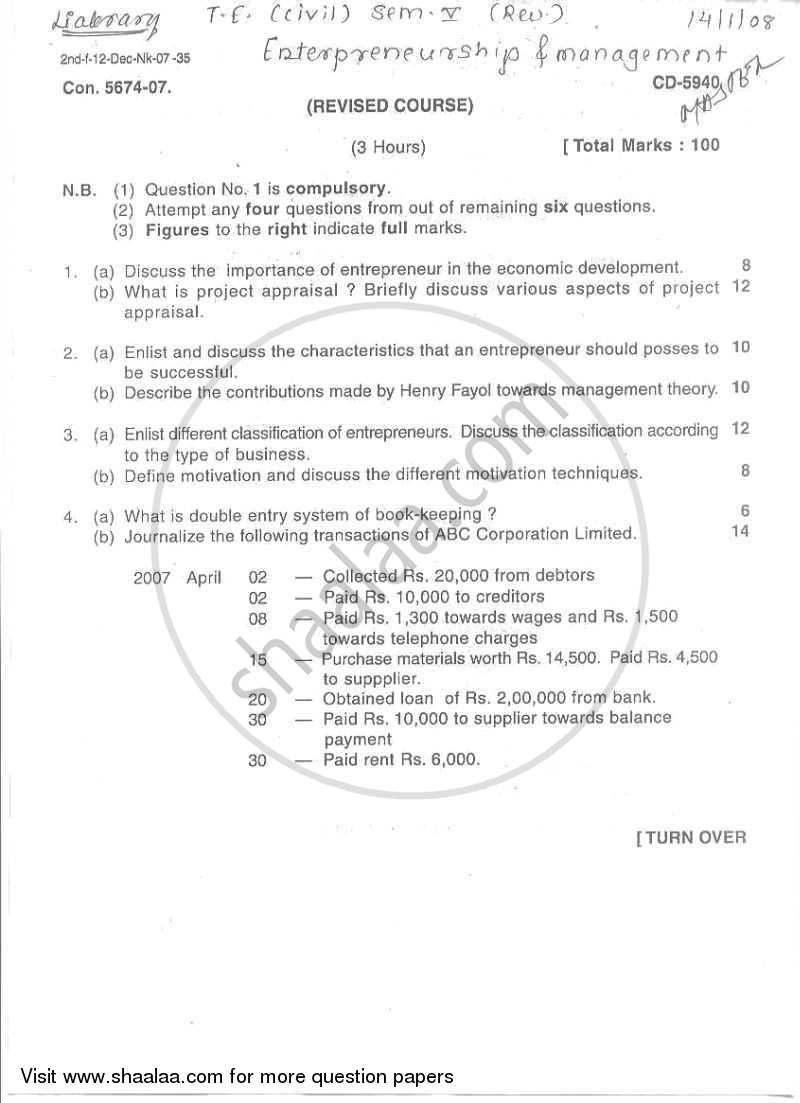 Question Paper - Entrepreneurship and Management 2008 - 2009-B.E.-Semester 5 (TE Third Year) University of Mumbai