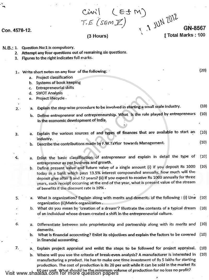 Question Paper - Entrepreneurship and Management 2011 - 2012 - B.E. - Semester 5 (TE Third Year) - University of Mumbai