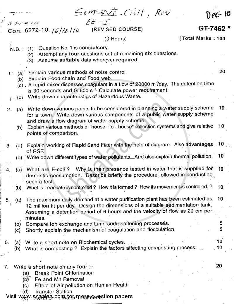 Question Paper - Environmental Engineering-1 2010 - 2011 - B.E. - Semester 6 (TE Third Year) - University of Mumbai