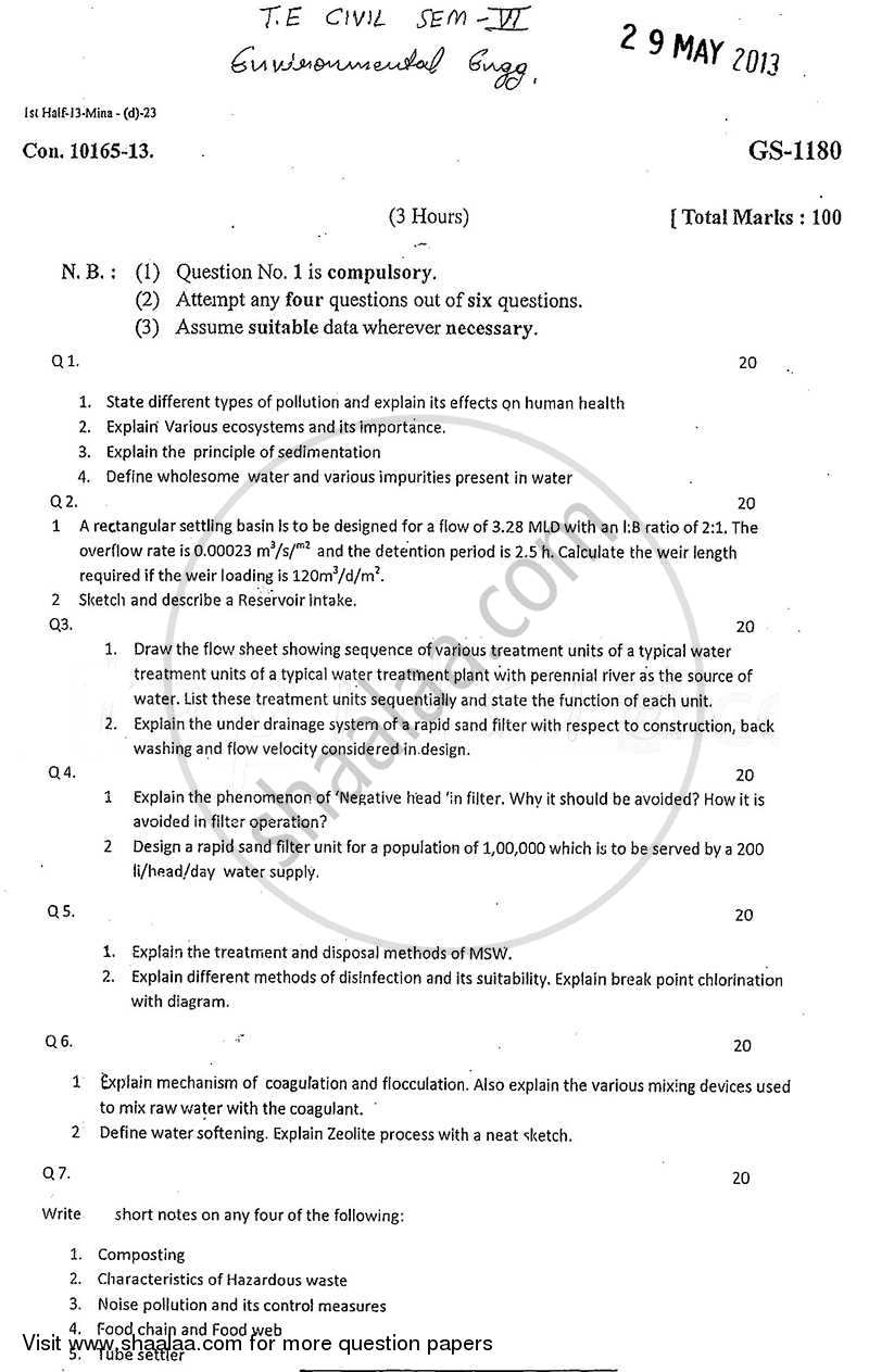 Question Paper - Environmental Engineering-1 2012 - 2013 - B.E. - Semester 6 (TE Third Year) - University of Mumbai