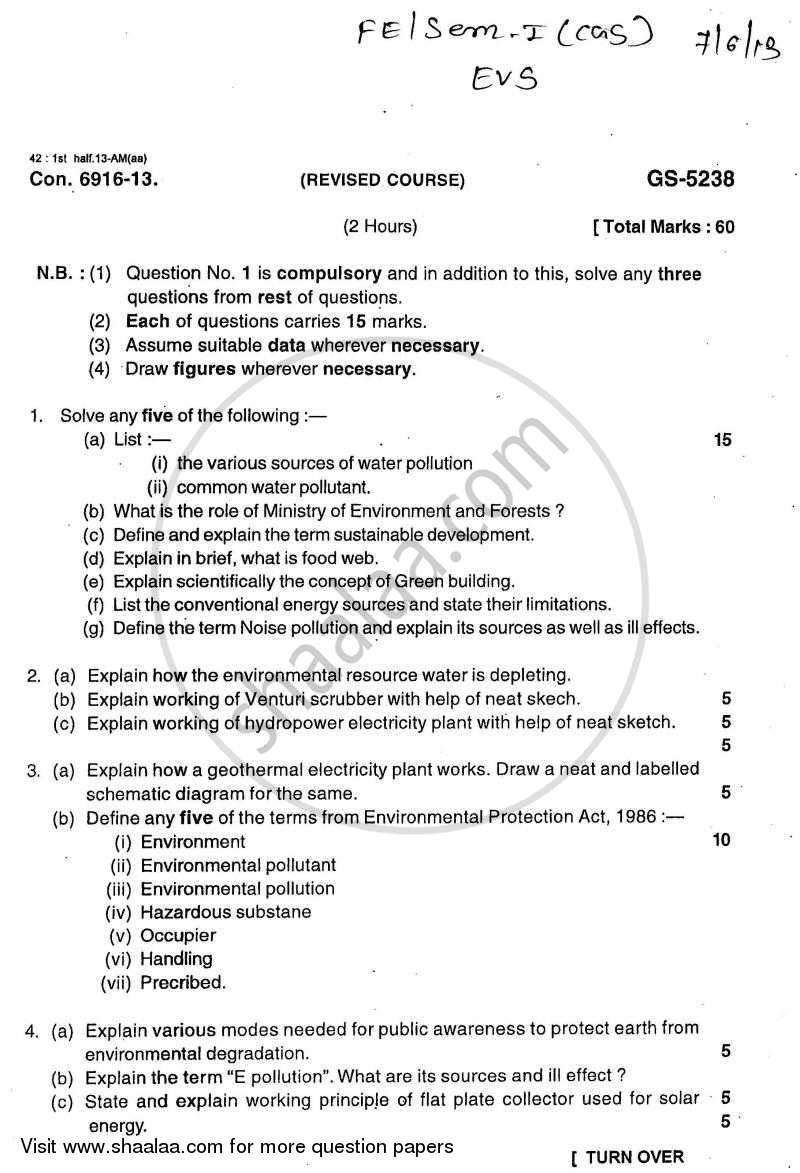 Environmental Studies 2012-2013 - B.E. - Semester 1 (FE First Year) - University of Mumbai question paper with PDF download
