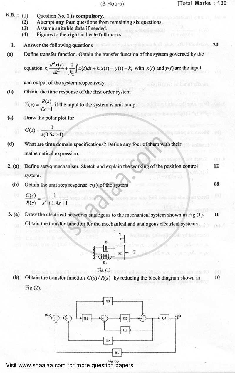Question Paper - Feedback Control System 2010 - 2011 - B.E. - Semester 4 (SE Second Year) - University of Mumbai