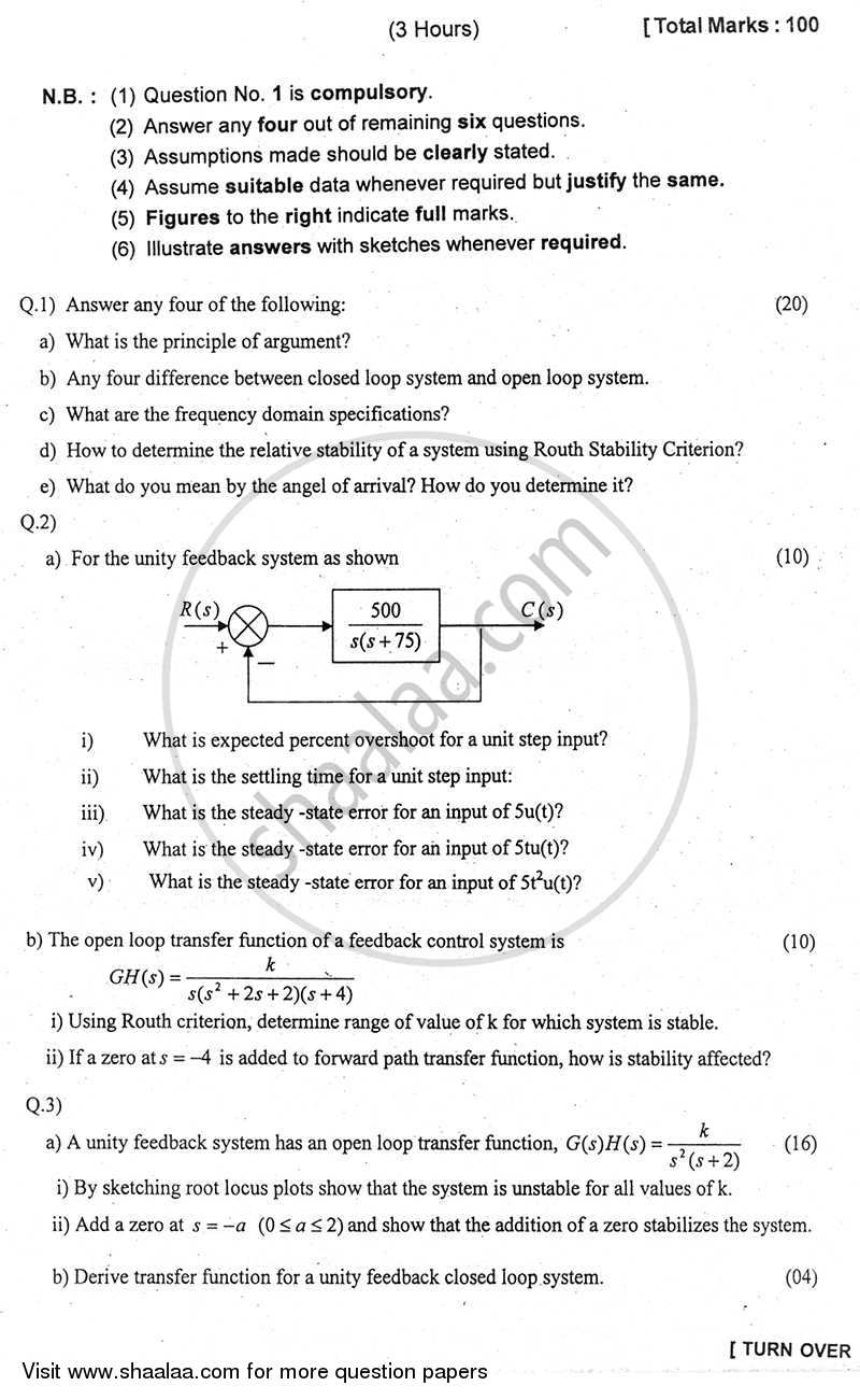Question Paper - Feedback Control System 2010 - 2011-B.E.-Semester 4 (SE Second Year) University of Mumbai