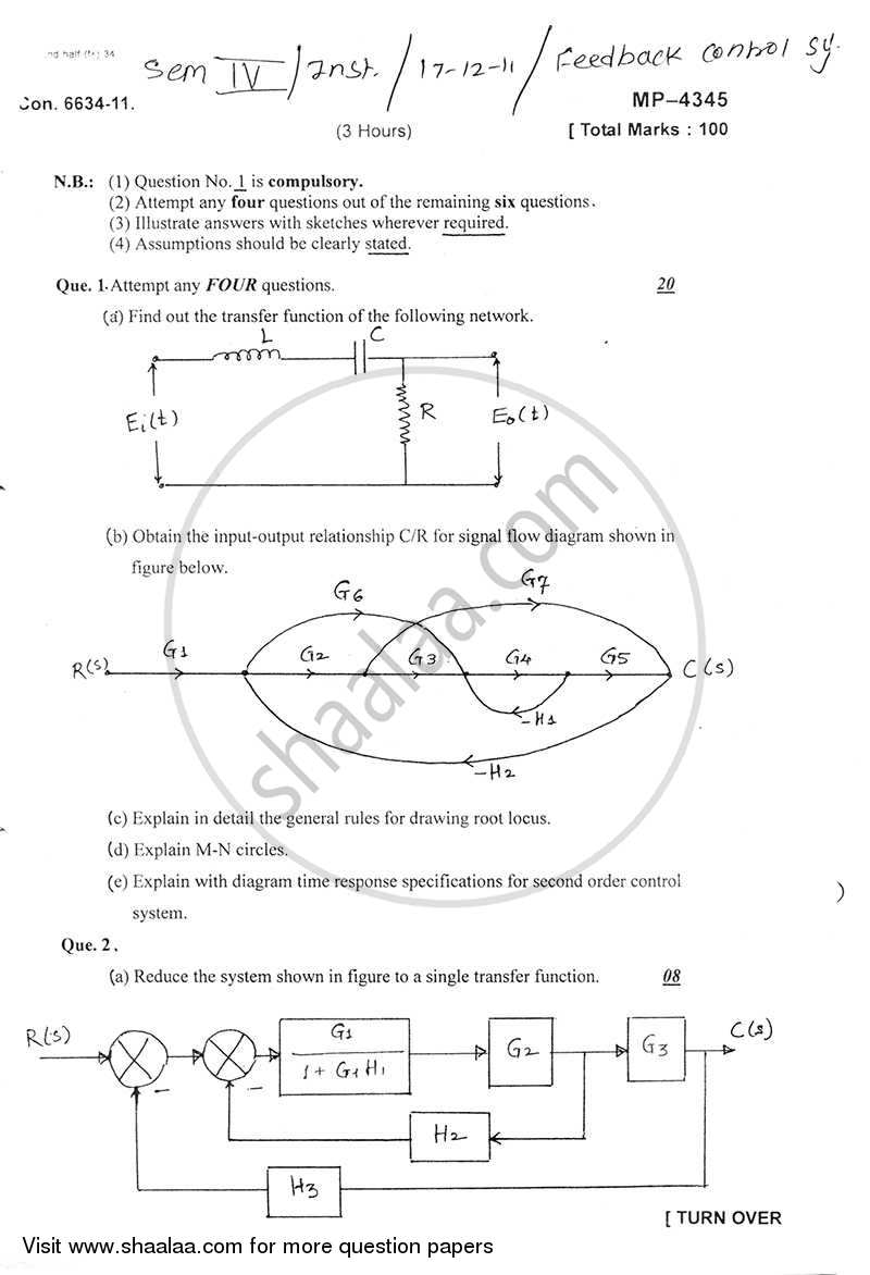 Question Paper - Feedback Control System 2011 - 2012 - B.E. - Semester 4 (SE Second Year) - University of Mumbai