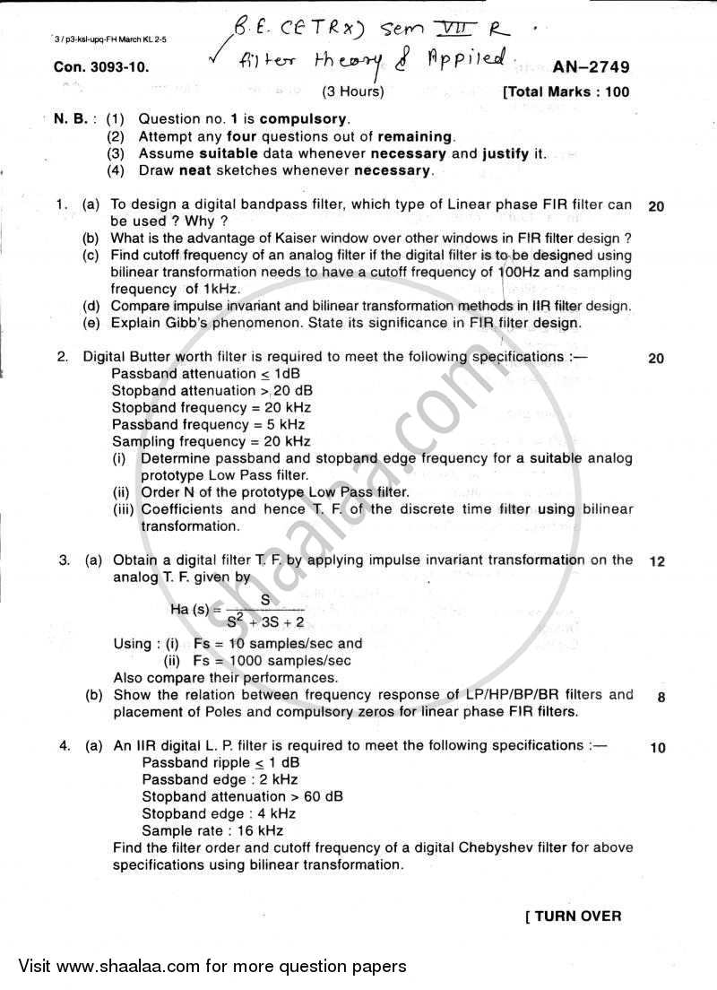 Question Paper - Filter Design 2009 - 2010 - B.E. - Semester 7 (BE Fourth Year) - University of Mumbai
