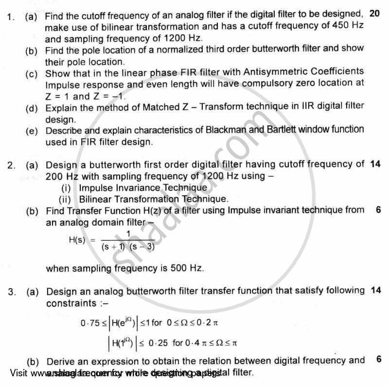 Question Paper - Filter Design 2010 - 2011 - B.E. - Semester 7 (BE Fourth Year) - University of Mumbai