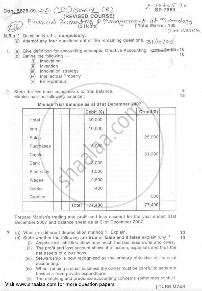 Question Paper - Financial Accounting and Management of Technology Innovation 2009 - 2010 - B.E. - Semester 4 (SE Second Year) - University of Mumbai