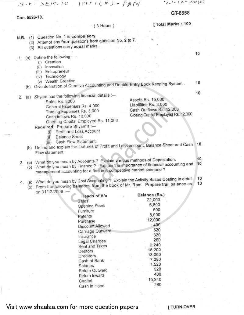 Financial Accounting and Management of Technology Innovation 2010-2011 - B.E. - Semester 4 (SE Second Year) - University of Mumbai question paper with PDF download