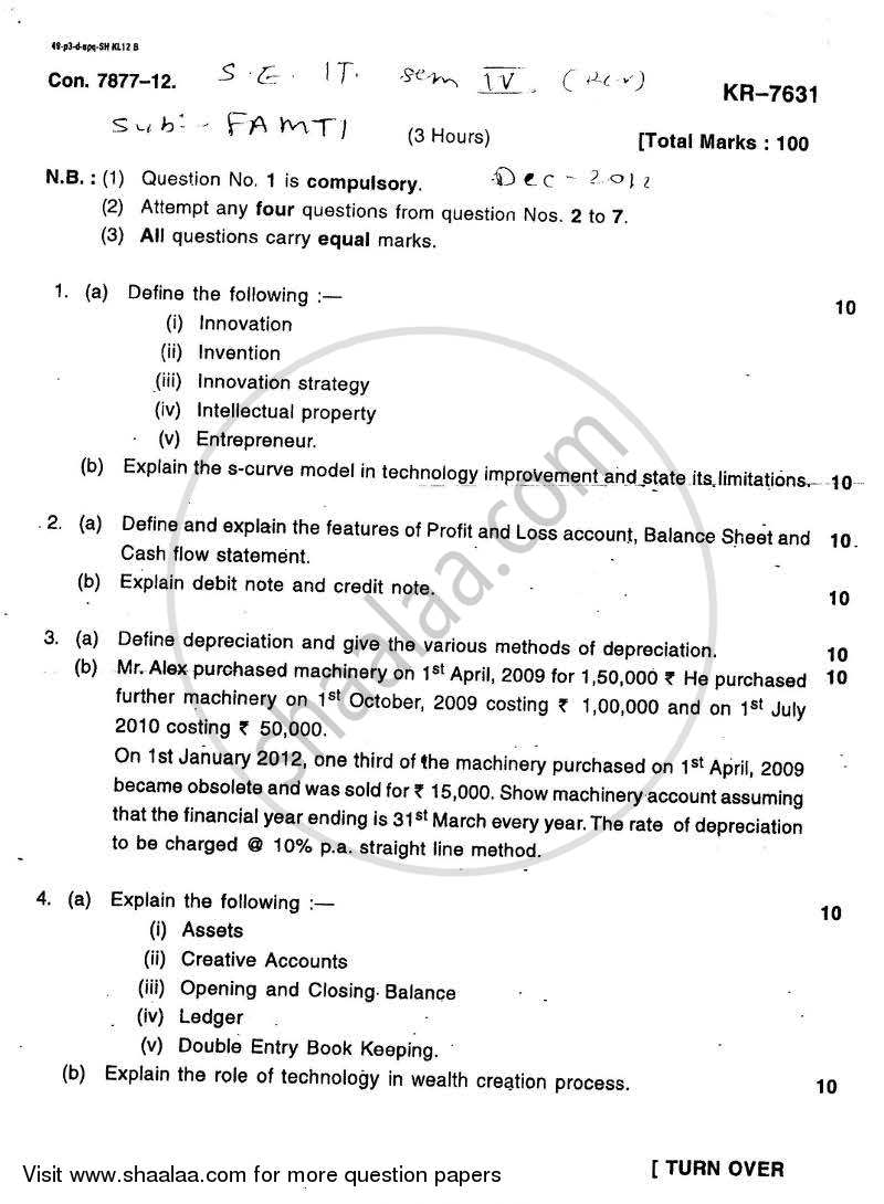 Question Paper - Financial Accounting and Management of Technology Innovation 2012 - 2013 - B.E. - Semester 4 (SE Second Year) - University of Mumbai